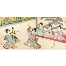 豊原周延: Ladies in Waiting of the Chiyoda Castle: Sword Practice and Puppet Kyôgen - メトロポリタン美術館
