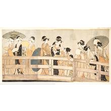 Kitagawa Utamaro: Enjoying the Cool Evening Breeze on and under the Bridge - Metropolitan Museum of Art