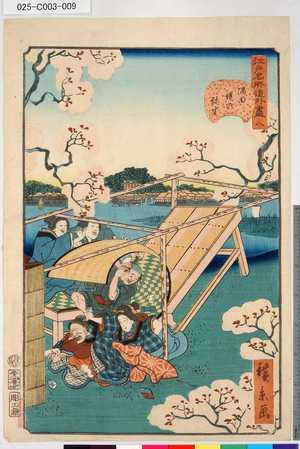 Utagawa Hirokage: 「江戸名所道外盡」 「八」「隅田堤の弥生」 - Tokyo Metro Library