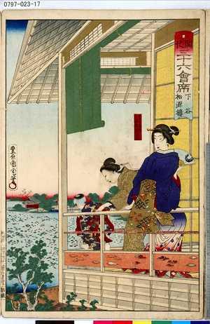 Toyohara Kunichika: 「開化三十六會席」 「下谷」「松源楼」 - Tokyo Metro Library