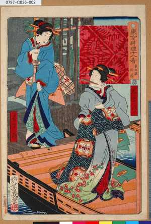 Ochiai Yoshiiku: 「東京料理十八肴」 「東両国柏屋」 - Tokyo Metro Library
