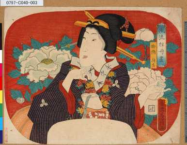 Utagawa Fusatane: 「風流牡丹尽」 「柳橋升吉」 - Tokyo Metro Library