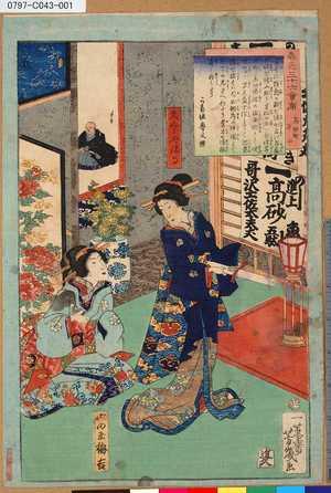 落合芳幾: 「春色三十六会席」 「高砂町万千」 - 東京都立図書館