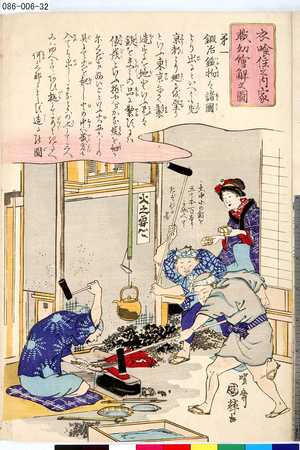 Utagawa Kuniteru: 「衣喰住之内家職幼絵解之図」 「第一 鍛冶鉄物」 - Tokyo Metro Library
