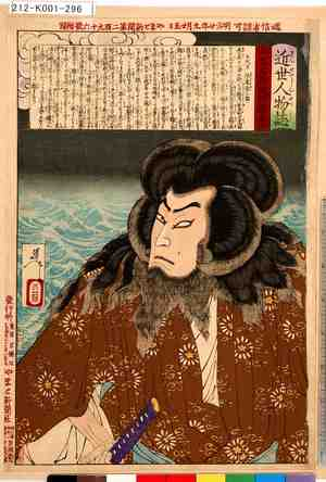 Tsukioka Yoshitoshi: 「近世人物誌」「やまと新聞附録」 「第十二」「五代目坂東彦三郎」 - Tokyo Metro Library