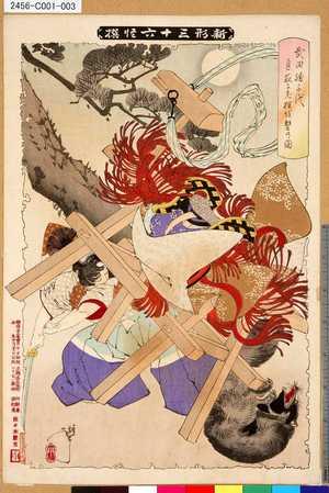 Tsukioka Yoshitoshi: 「新形三十六怪撰」 「武田勝千代月夜に老狸を撃乃図」 - Tokyo Metro Library
