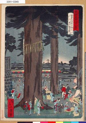 一景: 「東京名所四十八景」 「谷中諏訪の社廿六夜まち」「第八」 - 東京都立図書館