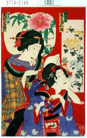 Toyohara Kunichika: 「おはん 尾上菊五郎」「おこま 市川左団次」 - Tokyo Metro Library