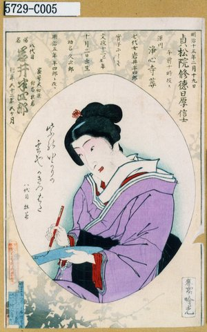 安達吟光: 「俗名 八代目岩井半四郎」 - 東京都立図書館