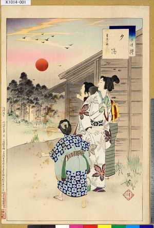 Mizuno Toshikata: 「三十六佳撰」 「夕陽」「慶安頃婦人」 - Tokyo Metro Library