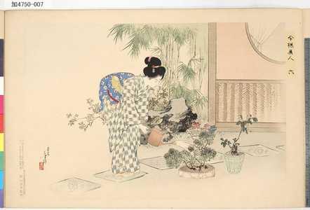 Mizuno Toshikata: 「今様美人」 「六 園芸会」 - Tokyo Metro Library