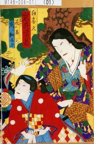 M148-006-01(01)「白喜久 岩井紫若」「花若 嵐和三郎」 明治15・06・11猿若『望月』