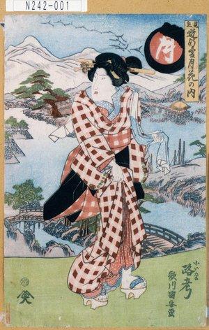 歌川国安: 「見立道行雪月花の内」「月」「小いな 路考」 - 東京都立図書館