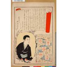 豊原国周: [東京自慢名物会] [挨拶]「見立模様劇場染」 - 東京都立図書館