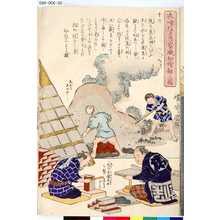 Utagawa Kuniteru: 「衣喰住之内家職幼絵解之図」 「第十六 瓦焼き 煉瓦製造」 - Tokyo Metro Library
