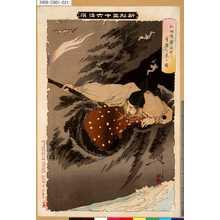 Tsukioka Yoshitoshi: 「新形三十六怪撰」 「仁田忠常洞中に奇異を見る図」 - Tokyo Metro Library