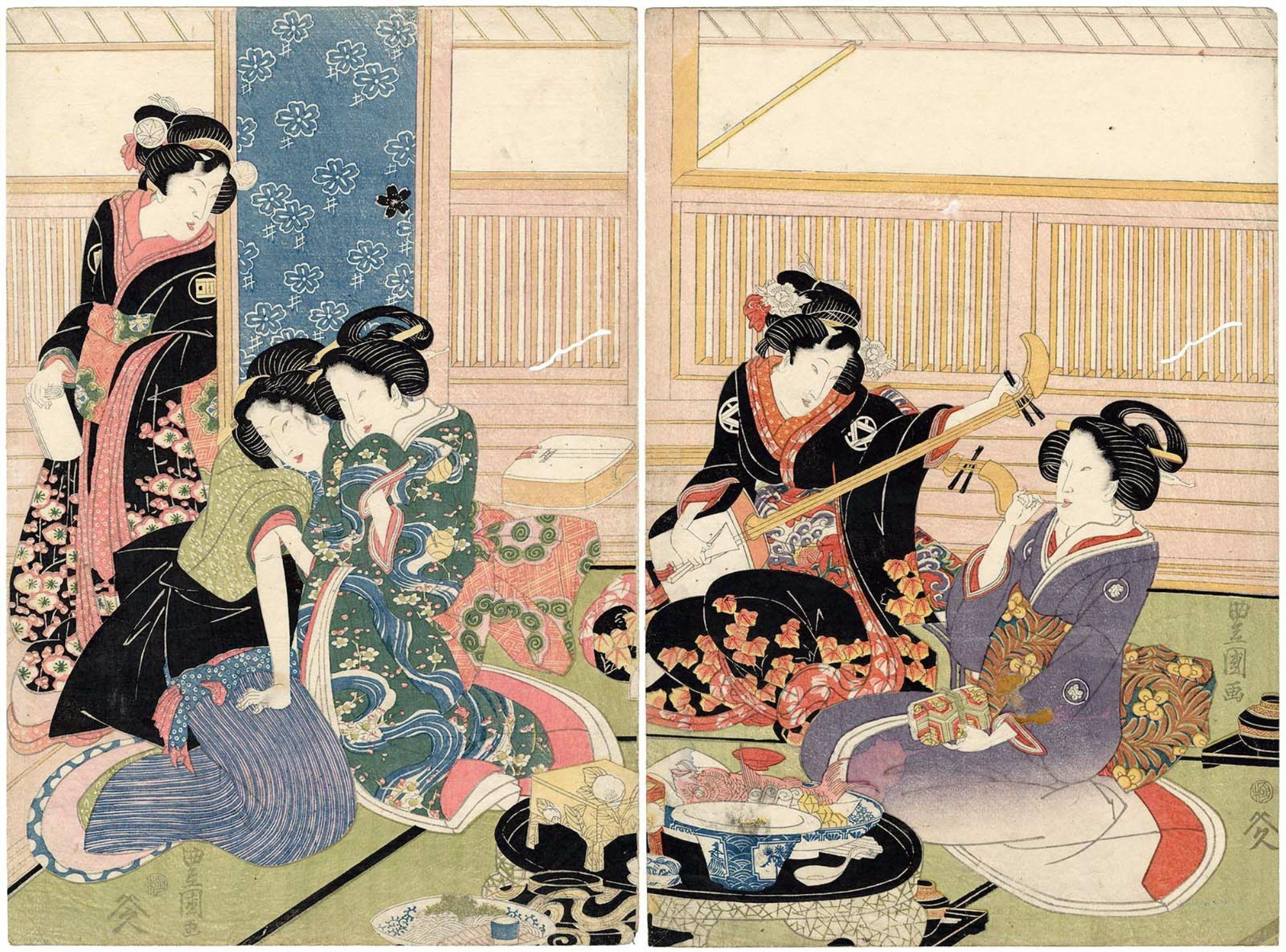 Utagawa Toyoshige Palace Maids And Male Prostitutes