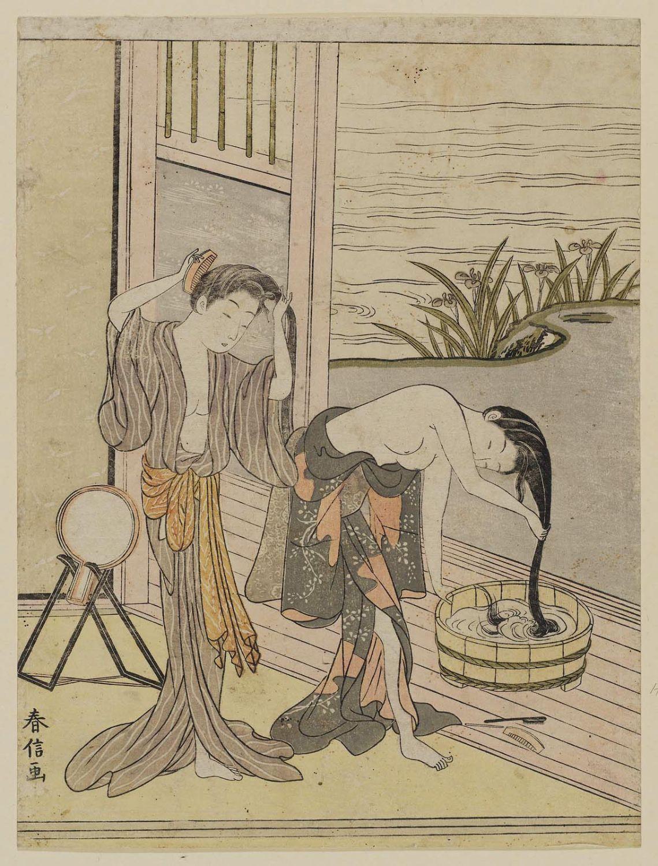 鈴木春信 Two Women Washing Their Hair ボストン美術館 浮世絵検索