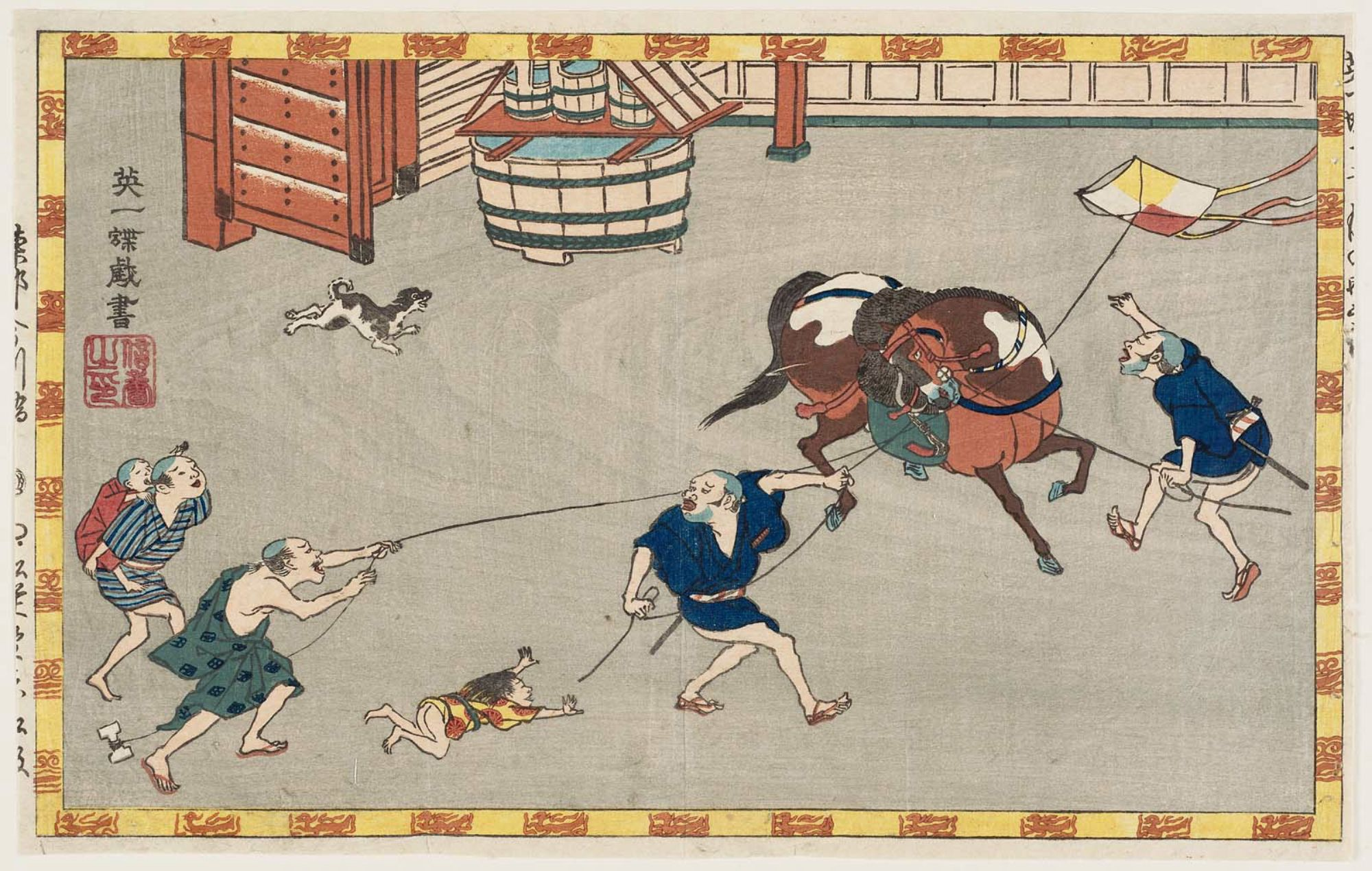 英一蝶: Horse and yakko excited by child's kite - ボストン美術館 - 浮世絵検索