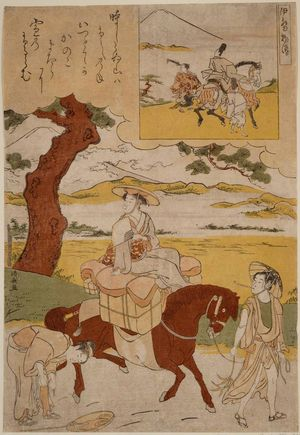 鳥居清長: Parody of Narihira's Journey to the East, from the series Tales of Ise (Ise monogatari) - ボストン美術館