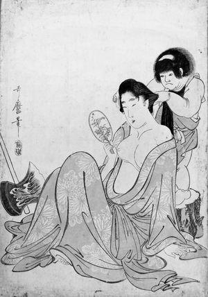 Kitagawa Utamaro: Kintarô Combing the Hair of Yamauba - Museum of Fine Arts