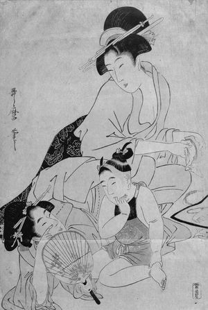 喜多川歌麿: Woman Playing with a Baby While Another Woman Cleans Combs - ボストン美術館