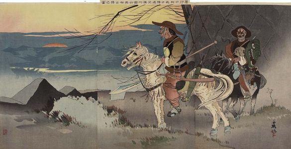 Taguchi Beisaku: Foreign-looking Manchurian Horsemen on an Expedition to Observe the Japanese Camp in the Distance Near Sauhoku (Sôkakô fukin Nichijin enbô Manshû kihei isô shutsujin no zu) - Museum of Fine Arts