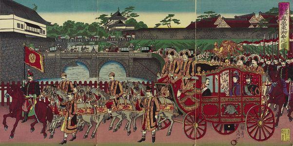 渡辺延一: The Phoenix Carriage Leaving Nishi-no-maru of the Imperial Palace to Attend a Military Review at Aoyama (Nishinomaru kokyo yori Aoyama... miyuki no zu) - ボストン美術館