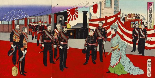 Utagawa Kokunimasa: Illustration of His Imperial Majesty, Commander-in-Chief of the Army and Navy, Arriving in the Capital in Triumph - Museum of Fine Arts