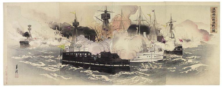 Ogata Gekko: Illustration of the Naval Battle Capturing Haiyang Island (Kaiyôtô senryô kaisen no zu) - Museum of Fine Arts