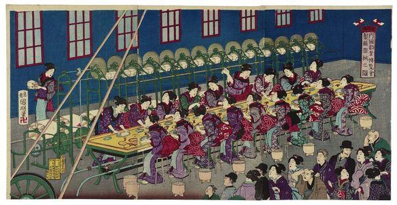 歌川国明: Illustration of the Silk Reeling Machine at the Japanese National Industrial Exposition (Dai Nihon naikoku kangyô hakurankai seishi kikai no zu) - ボストン美術館