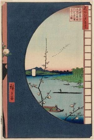 歌川広重: View from Massaki of Suijin Shrine, Uchigawa Inlet, and Sekiya (Massaki-hen yori Suijin no mori Uchigawa Sekiya no sato o miru zu), from the series One Hundred Famous Views of Edo (Meisho Edo hyakkei) - ボストン美術館