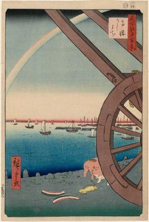 歌川広重: Ushimachi in the Takanawa District (Takanawa Ushimachi), from the series One Hundred Famous Views of Edo (Meisho Edo hyakkei) - ボストン美術館