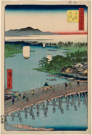歌川広重: Senju Great Bridge (Senju no Ôhashi), from the series One Hundred Famous Views of Edo (Meisho Edo hyakkei) - ボストン美術館