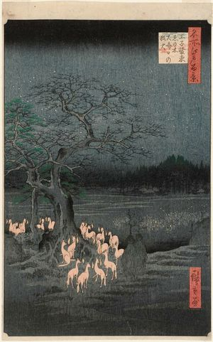 Utagawa Hiroshige: New Year's Eve Foxfires at the Changing Tree, Ôji (Ôji Shôzoku enoki Ômisoka no kitsunebi), from the series One Hundred Famous Views of Edo (Meisho Edo hyakkei) - Museum of Fine Arts