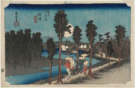 歌川広重: Numazu: Twilight (Numazu, tasogare zu), from the series Fifty-three Stations of the Tôkaidô Road (Tôkaidô gojûsan tsugi no uchi), also known as the First Tôkaidô or Great Tôkaidô - ボストン美術館