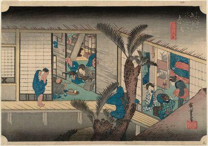 歌川広重: Akasaka: Inn with Serving Maids (Akasaka, ryosha shôfu no zu), from the series Fifty-three Stations of the Tôkaidô (Tôkaidô gojûsan tsugi no uchi), also known as the First Tôkaidô or Great Tôkaidô - ボストン美術館