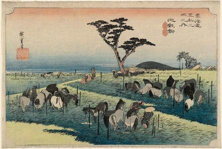 Utagawa Hiroshige: Chiryû: Early Summer Horse Fair (Chiryû, shuka uma ichi), second (?) state, from the series Fifty-three Stations of the Tôkaidô (Tôkaidô gojûsan tsugi no uchi), also known as the First Tôkaidô or Great Tôkaidô - Museum of Fine Arts