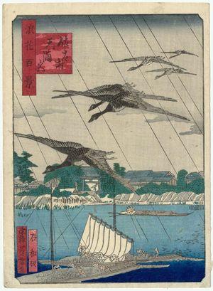 Nansuitei Yoshiyuki: Tenman-gû Shrine in Sata Village (Sata-mura Tenman-gû), from the series One Hundred Views of Osaka (Naniwa hyakkei) - ボストン美術館