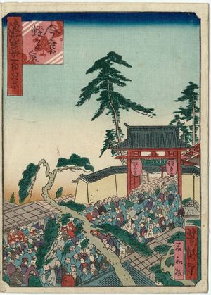 Utagawa Yoshitaki: Imamiya Ebisu Shrine (Imamiya Ebisu no miya), from the series One Hundred Views of Osaka (Naniwa hyakkei) - Museum of Fine Arts