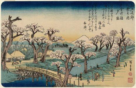 歌川広重: Sunset Glow at Koganei Bridge (Koganei-bashi no sekishô), from the series Eight Views in the Environs of Edo (Edo kinkô hakkei no uchi) - ボストン美術館