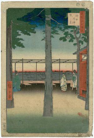 歌川広重: Dawn at Kanda Myôjin Shrine (Kanda Myôjin akebono no kei), from the series One Hundred Famous Views of Edo (Meisho Edo hyakkei) - ボストン美術館