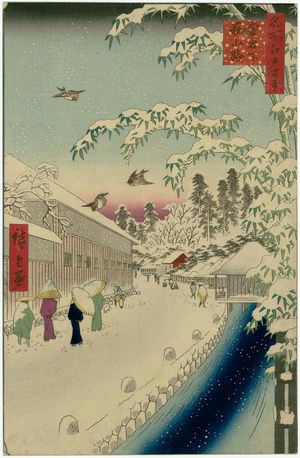 Utagawa Hiroshige: Atagoshita and Yabu Lane (Atagoshita Yabukôji), from the series One Hundred Famous Views of Edo (Meisho Edo hyakkei) - Museum of Fine Arts
