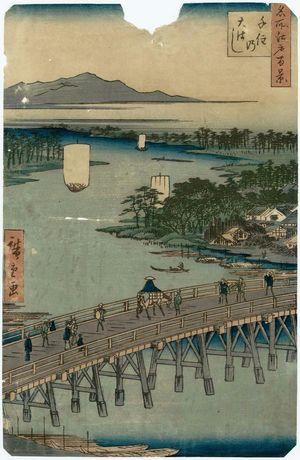 Utagawa Hiroshige: Senju Great Bridge (Senju no Ôhashi), from the series One Hundred Famous Views of Edo (Meisho Edo hyakkei) - Museum of Fine Arts