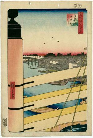 Utagawa Hiroshige: Nihonbashi Bridge and Edobashi Bridge (Nihonbashi Edobashi), from the series One Hundred Famous Views of Edo (Meisho Edo hyakkei) - Museum of Fine Arts