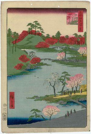 Utagawa Hiroshige: Open Garden at Fukagawa Hachiman Shrine (Fukagawa Hachiman yamabiraki), from the series One Hundred Famous Views of Edo (Meisho Edo hyakkei) - Museum of Fine Arts