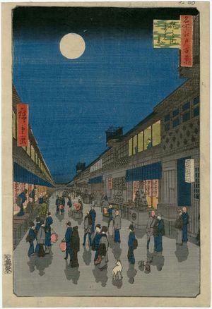 歌川広重: Night View of Saruwaka-machi (Saruwaka-machi yoru no kei), from the series One Hundred Famous Views of Edo (Meisho Edo hyakkei) - ボストン美術館