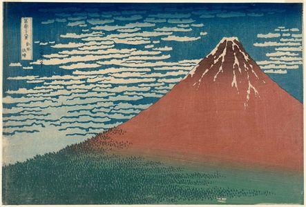 葛飾北斎: Fine Wind, Clear Weather (Gaifû kaisei), also known as Red Fuji, from the series Thirty-six Views of Mount Fuji (Fugaku sanjûrokkei) - ボストン美術館