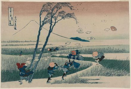 Katsushika Hokusai: Ejiri in Suruga Province (Sunshû Ejiri), from the series Thirty-six Views of Mount Fuji (Fugaku sanjûrokkei) - Museum of Fine Arts