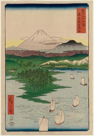 歌川広重: Yokohama at Noge in Musashi Province (Musashi Noge Yokohama), from the series Thirty-six Views of Mount Fuji (Fuji sanjûrokkei) - ボストン美術館